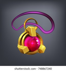 Fantasy jewelry decorations - golden amulet for game or cards. Vector illustration.