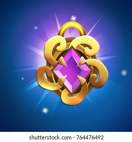 Fantasy jewelry decorations - golden talisman for game or cards on colored bacground. Vector illustration.