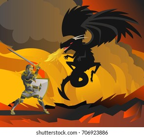 fantasy knight fighting a black dragon in the flames