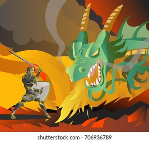 fantasy knight fighting a green fire breathing dragon