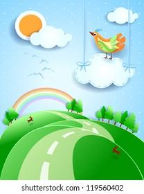 Fantasy landscape with bird, vector