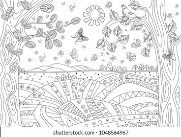 fantasy landscape with butterflies for coloring book