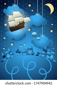 Fantasy landscape by night with flying vessel and lights. Vector illustration eps10