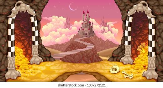 Fantasy landscape with castle, caverns and treasure. Cartoon vector illustration