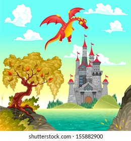 Fantasy landscape with castle and dragon. Vector illustration.
