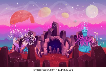 Fantasy landscape with a cave magical plants and mushrooms. Illustration of space or the seabed. Background for games and mobile applications.