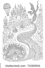 Fantasy landscape with dragon. Fairy tale medieval castle on a hill. Round old  street. T-shirt print. Album cover, invitation card. Coloring book page for adults and children. Black and white page