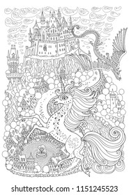 Fantasy landscape with dragon and unicorne. Fairy tale medieval castle on a hill. Round old street. T-shirt print. Album cover, postcard. Black and white Coloring book page for adults and children.