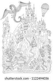 Fantasy landscape. Fairy tale castle on a hill. Fantastic mountain, palm tree, garden, river, waterfall. Flying dragon ans air baloon. T-shirt print. Coloring book page for adults. Black and white