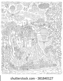 Fantasy landscape. Fairy tale castle on a hill. Fantastic apple tree, garden flower. Flying air balloon, butterfly, thunder cloud. T-shirt print. Album cover.Coloring book page for adults. Black White