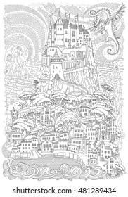 Fantasy landscape. Fairy tale castle on a hill. Fantastic mountain, clouds, pine trees, sea wave. Flying dragon, stars. T-shirt print. Album cover. Coloring book page for adults. Black and white