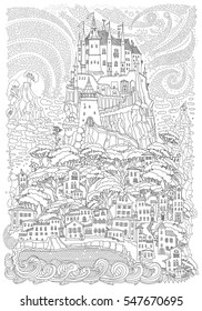 Fantasy landscape. Fairy tale castle on a hill. Fantastic mountain, clouds, pine trees, sea wave. Flying  stars. T-shirt print. Album cover. Coloring book page for children and adults. Black and white