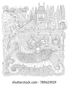 Fantasy landscape. Fairy tale castle on a hill in the mountains, stone staircase, grotto, pixie forest, garden roses, lilies. T-shirt print. Album cover. Coloring book page for adults. Black and White