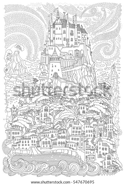 Fantasy Landscape Fairy Tale Castle On Royalty Free Stock