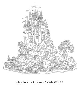 Fantasy landscape with Fairy tale medieval castle on a hill, old houses, middle age street and buildings. T-shirt print. Album cover, card. Coloring book page for adults and children. Black and white