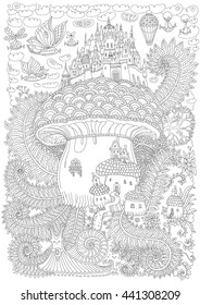Fantasy landscape. Fairy tale medieval castle on a fantastic mushroom. Stylized fern foliage, snail. Flying balloon.T-shirt print. Album cover. Adults and children coloring book page. Black and white