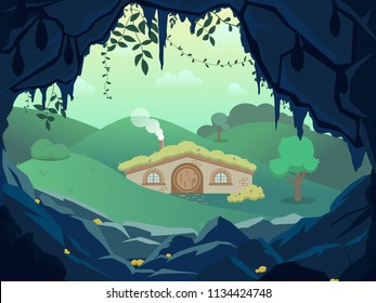 Fantasy landscape with gnome house between the forest hills and gold dark cave , Vector hand draw illustration