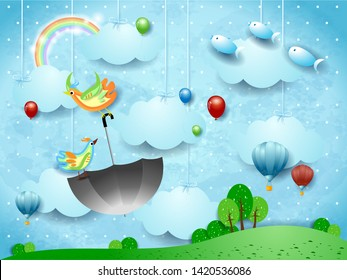 Fantasy landscape with hanging clouds, flying umbrella and fishes. Vector illustration eps10