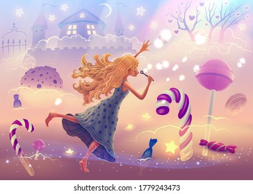 Fantasy landscape illustration with dreaming girl flying in sweet world with Christmas candy canes, magic pink clouds, colorful rainbow, neon glowing soap bubbles. Vector fairy tale drawing.