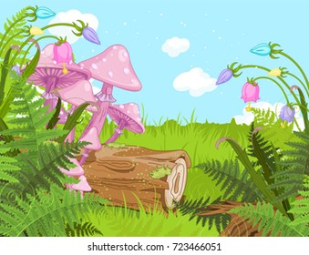 Fantasy landscape with mushrooms and flowers