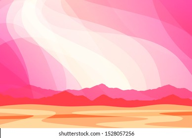 Fantasy landscape with Pink clouds. Wallpaper or Backdrop for Banner of cute cartoon World, Vector illustration.
