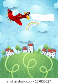 Fantasy landscape with plane and banner, vector
