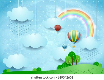 Fantasy landscape with rain and hot air balloons, vector illustration