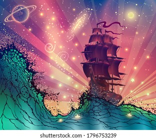 Fantasy landscape with a ship on the sea waves, fabulous digital illustration of a vessel with sails in a stormy ocean against space stars, sun rays, planets and moon. Vector art.