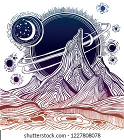 Fantasy linear alien landscape with mountains, stars, Jupiter and sun. Another planet. Tattoo art. Infinite space, sci-fi symbols, travel, futurism. Isolated vector illustration.