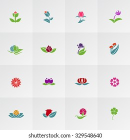 Fantasy logo shape flower such as lotus rose tulip sunflower daisy clover leaf and other colorful icon collection set, create by vector