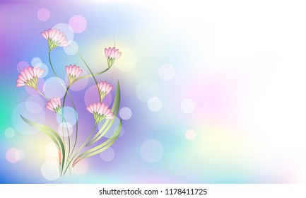 Fantasy and magical background with bokeh and enigmatic  fabulous flowers in which unicorn dwells