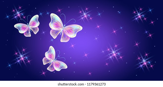 Fantasy magical background with cosmic sparkle stars and fabulous butterflies