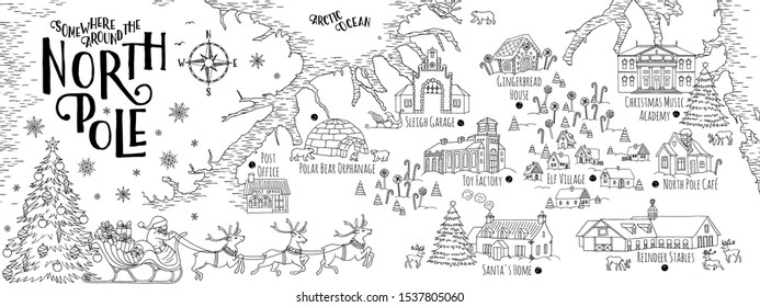 Fantasy map of the North Pole, showing the home and toy factory of Santa Claus, reindeer stables, elf village etc. - vintage Christmas greeting card template