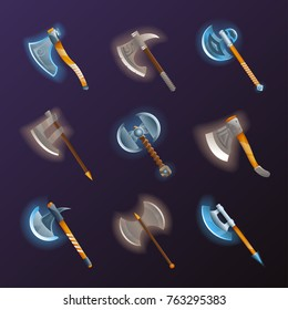 Fantasy medieval axes vector set. Collection of decoration weapon for computer game design. Magic and epic tomahawk, two blade battle ax, halberd and hatchet vector illustration. Ancient viking arms.