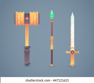 Fantasy medieval cold weapon set in flat-style design: golden war hammer, magic staff and steel long sword