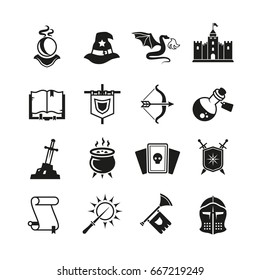 Fantasy medieval tale vector icons. Mystery magic and knight pictograms. Magic fantasy, medieval castle and dragon illustration