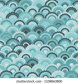 Fantasy mermaid scales squama background, vector seamless fabric pattern, tiled textile print. Typical chinese squama scales seamless arc tiles ornament. Reptile animal skin pattern.