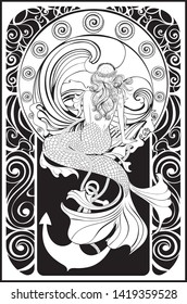 Fantasy mermaid sitting, vintage art nouveau design illustration.