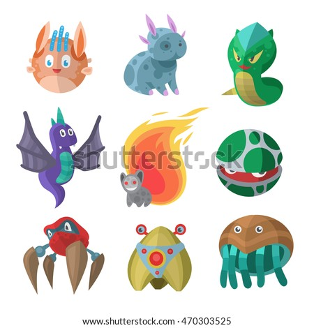 Fantasy monster color grunge character funny design element. Japan style cartoon movie hero robot mascots: dragon, worm, ballman and other