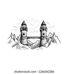 Fantasy Mountain Bridge Castle Illustration