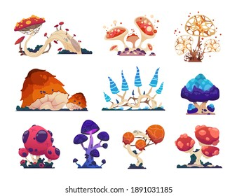 Fantasy mushrooms. Cartoon grebes. Mystical alien nature, unusual flora. Magical ingredient with poisonous or psychedelic effects. Collection of isolated fantastic colorful toadstools. Vector flat set