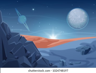 Fantasy mystery alien landscape, another planet nature with rocks and planets in sky. Game design vector galaxy space background.