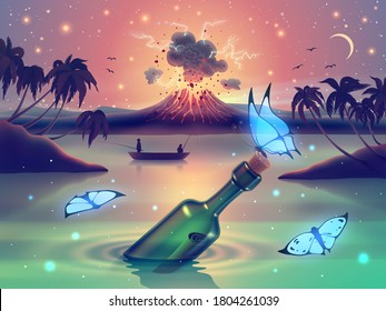 Fantasy nature landscape with blue neon glowing butterflies against magic lake, river or sea and erupting volcano on island, palm trees silhouette and starry sky in vector.