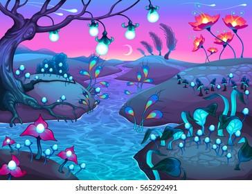 Fantasy nocturnal landscape. Cartoon vector illustration.