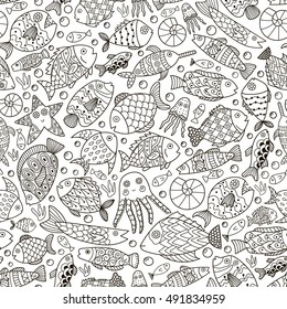 Fantasy ocean collection with doodle fish for adult coloring book. Black and white sea life background in line art style. Vector illustration