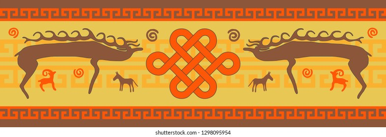 Fantasy on the art of Mongolia, traditional ornament and petroglyphs, vector design