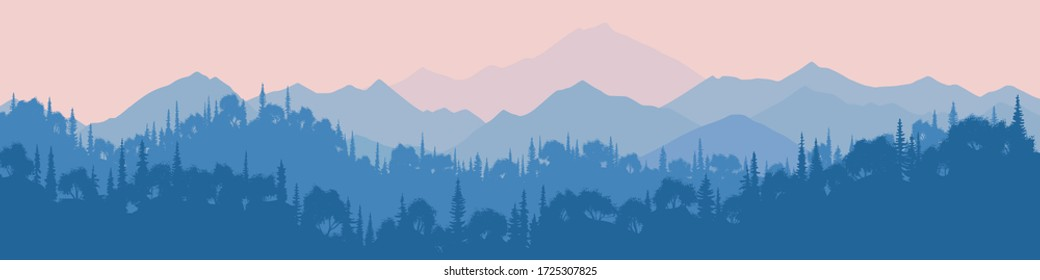Fantasy on the theme of the morning landscape, sunrise in the mountains, mixed forest. Panoramic view, vector illustration.
