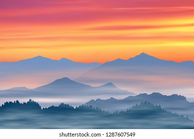 Fantasy on the theme of the mountain landscape. Fog and red sky. Vector illustration, EPS10