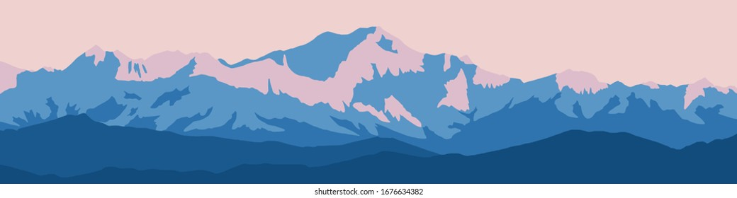 Fantasy on the theme of the mountain landscape. Vector drawing of Mount Everest. Panoramic view. Traveling in the mountains, climbing.