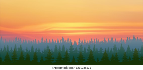 Fantasy on the theme of the northern landscape, a bright sunset in the Siberian taiga, vector illustration, EPS10